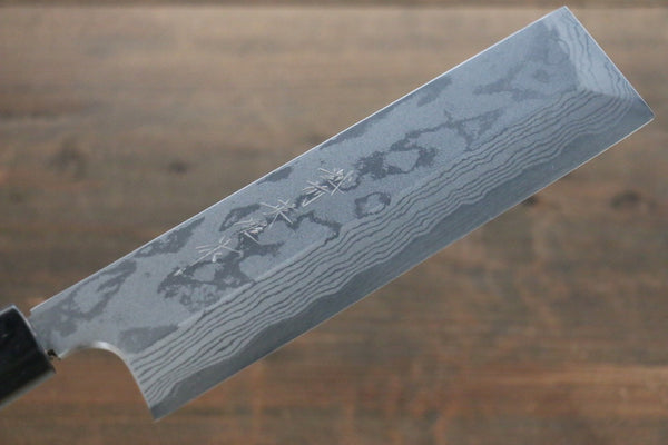 Hideo Kitaoka Blue Steel No.2 Damascus Kakugata Usuba Japanese Chef Knife 168mm