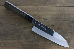 Kikumori VG10 Mirrored Finish Santoku Japanese Chef Knife 180mm with Ebony Handle - Seisuke Knife