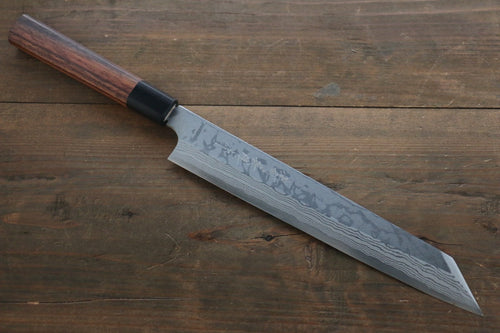 Hideo Kitaoka Blue Steel No.2 Damascus Kirituke Yanagiba Japanese Chef Knife 240mm