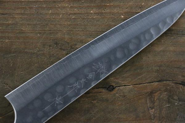 Yoshimi Kato Silver Steel No.3 Hammered Petty Japanese Chef Knife 150mm with Red Honduras Handle - Seisuke Knife