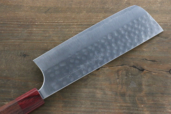 Yoshimi Kato Silver Steel No.3 Hammered Nakiri Japanese Chef Knife 165mm with Red Honduras Rosewood Handle