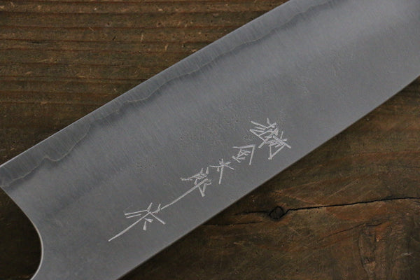 Yoshimi Kato Blue Super Clad Nashiji Santoku Japanese Chef Knife 165mm with Black Honduras Rosewood Handle