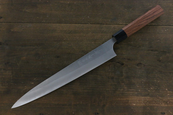 Yoshimi Kato Blue Super Clad Nashiji Sujihiki-Slicer Japanese Chef Knife 270mm with Black Honduras Handle - Seisuke Knife