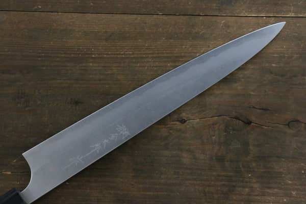 Yoshimi Kato Blue Super Clad Nashiji Sujihiki-Slicer Japanese Chef Knife 270mm with Black Honduras Rosewood Handle
