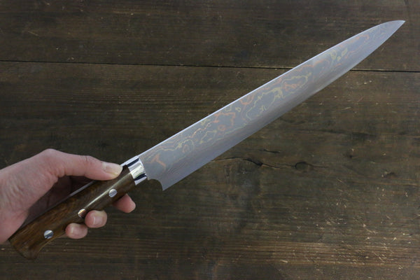 Takeshi Saji Blue Steel No.2 Colored Damascus Sujihiki Japanese Chef Knife 300mm w/ Iron wood Handle - Seisuke Knife