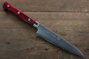 Takamura Knives R2/SG2 Petty-Utility Japanese Knife 130mm with Red Pakkawood Handle - Seisuke Knife
