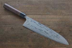 Ogata White Steel No.2  Damascus Migaki Finished Gyuto Japanese Knife 240mm with Shitan Handle - Seisuke Knife