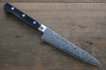 Takayuki Iwai Blue Steel No.2 Damascus Petty-Utility Japanese Knife 110mm with Shitan Rosewood Handle (Round Handle)
