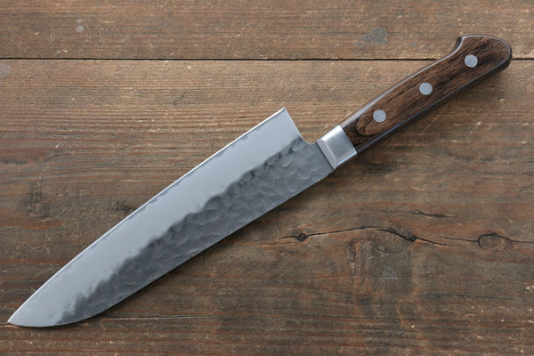 Seisuke AUS8 Hammered Santoku Japanese Knife 180mm with Brown Pakka wood Handle - Seisuke Knife