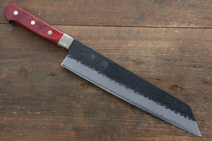 Seisuke Blue Super Hammered Kurouchi Kiritsuke Gyuto Japanese Knife 240mm with Red Pakkawood Handle - Seisuke Knife
