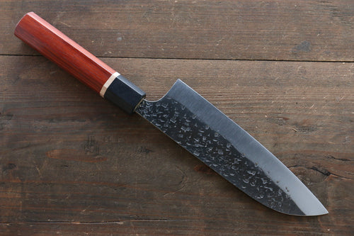 Yu Kurosaki Blue Super Clad Hammered Kurouchi Santoku Japanese Chef Knife 170mm with Padoauk handle
