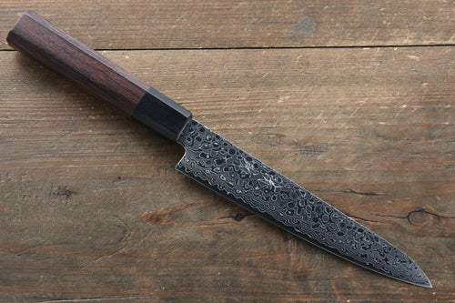 Seisuke AUS10 Damascus Petty-Utility Japanese Knife 150mm with Shitan Handle - Seisuke Knife