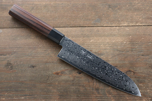 Seisuke AUS10 Damascus Santoku Japanese Knife 180mm with Shitan Handle - Seisuke Knife