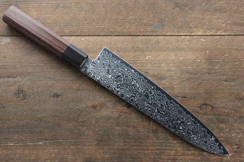 Seisuke AUS10 Damascus Gyuto Japanese Knife 210mm with Shitan Handle - Seisuke Knife