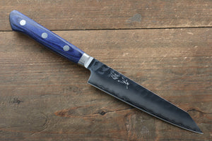 Seisuke AUS10 Hammered Kiritsuke Petty-Utility Japanese Knife 140mm with Blue Pakkawood Handle - Seisuke Knife