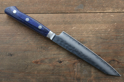 Seisuke AUS10 Hammered Kiritsuke Petty-Utility Japanese Knife 140mm with Blue Pakka wood Handle - Seisuke Knife