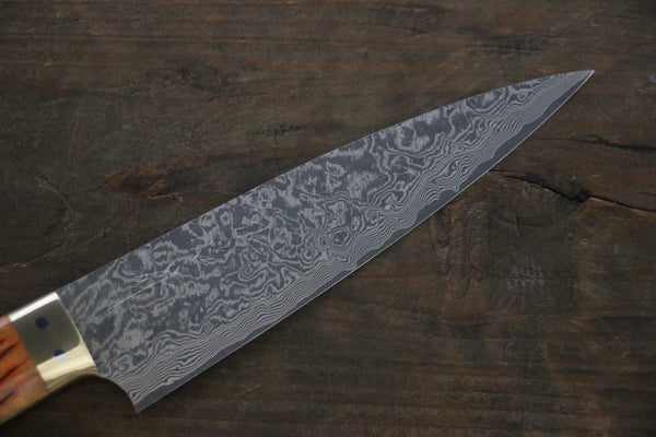 Takeshi Saji R2/SG2 Black Damascus Petty Japanese Chef Knife 135mm wtih Orange Deer Horn handle