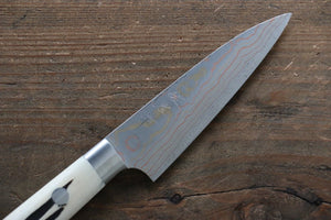Takeshi Saji Blue Steel No.2 Colored Damascus  Petty Japanese Chef Knife 90mm with White Bone Handle - Seisuke Knife