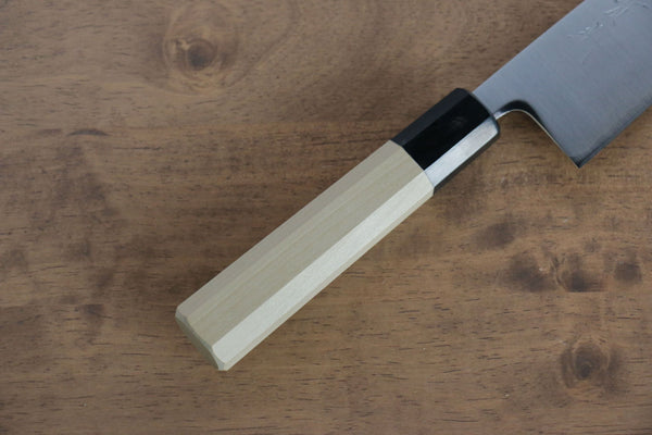 Yoshimi Kato Silver Steel No.3 Damascus Gyuto Japanese Chef Knife 210mm with Brown Lacquered Handle with Saya