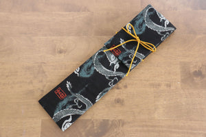 Japanese Style Knife Roll - Black Dragon (1 Pocket) - Seisuke Knife