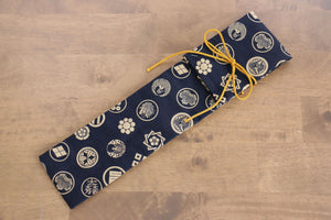 Japanese Style Knife Roll - Navy Kamon (1 Pocket) - Seisuke Knife