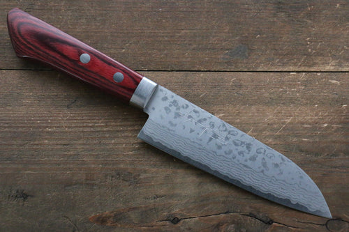 Kunihira Sairyu VG10 Damascus Small Santoku Japanese Knife 135mm with Red Pakkawood Handle - Seisuke Knife