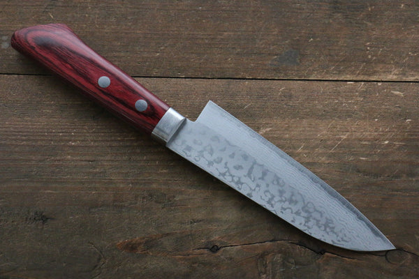 Kunihira Kunihira Sairyu VG10 Damascus Small Santoku Japanese Knife 135mm with Red Pakka wood Handle - Seisuke Knife
