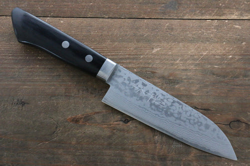 Kunihira Sairyu VG10 Damascus Small Santoku Knife 135mm with Black Pakkawood Handle - Seisuke Knife
