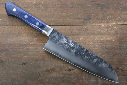 Seisuke AUS10 3 Layer Nashiji Santoku Japanese Knife 170mm with Blue Pakka wood Handle - Seisuke Knife