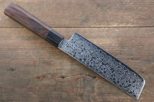 Seisuke AUS10 Damascus Nakiri Japanese Knife 165mm with Shitan Handle - Seisuke Knife