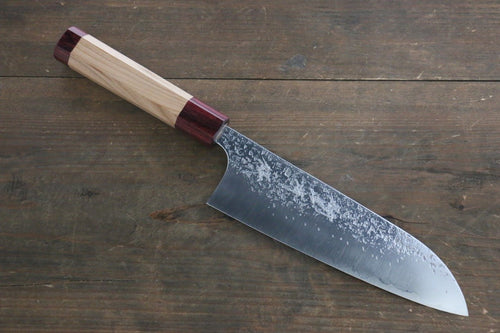 Kurosaki Shizuku R2/SG2 Hammered Santoku Japanese Chef Knife 180mm American Cherry Handle