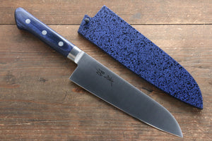 Seisuke Molybdenum Santoku Japanese Knife 180mm with Blue Pakkawood Handle with Saya - Seisuke Knife
