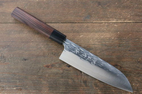 Yu Kurosaki Juhyo R2/SG2 Hammered Santoku Japanese Knife 165mm with Shitan (ferrule: Black Pakka wood) Handle - Seisuke Knife