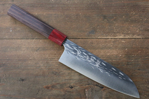 Yu Kurosaki Juhyo R2/SG2 Hammered Santoku Japanese Knife 165mm with Shitan (ferrule: Red Pakka wood) Handle - Seisuke Knife