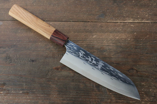 Yu Kurosaki Juhyo R2/SG2 Hammered Santoku Japanese Knife 165mm with Keyaki (Japanese Elm) Handle - Seisuke Knife