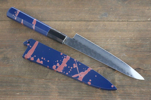 Sakai Takayuki 33 Layer Damascus Hammerd Petty Japanese Chef Knife 150mm Blue Lacquered Handle With Saya