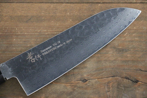 Sakai Takayuki 33 Layer Damascus Hammerd Santoku Japanese Chef Knife 170mm Blue Lacquered Handle With Saya