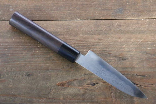 Takayuki Iwai Blue Steel No.2 Fumon Damascus  Series Petty Japanese Chef Knife 110mm