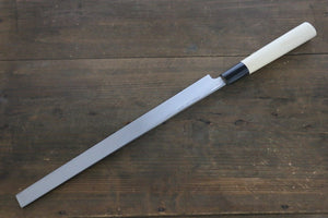[Left Handed] Sakai Takayuki Kasumitogi White Steel Takohiki Chef Knife with Water Buffalo Handle - Seisuke Knife