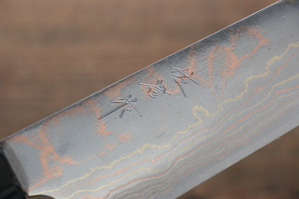 Takeshi Saji Blue Steel No.2 Colored Damascus  Gyuto Japanese Chef Knife 210mm with Ebony Handle (ferrule: Water Buffalo with Ring) - Seisuke Knife