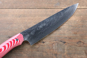 Takeshi Saji Coreless Mirrored Finish Gyuto Japanese Knife 180mm with Red White Micarta (Nomura Style) Handle - Seisuke Knife