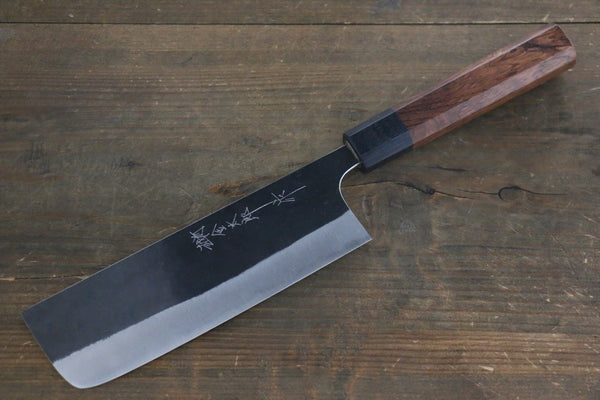 Yoshimi Kato Blue Super Clad Kurouchi Nakiri Japanese Chef Knife 165mm Honduras Rosewood Handle - Seisuke Knife