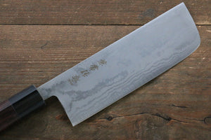 Kanetsune Blue Steel No.2 Damascus Nakiri Japanese Knife 165mm with Shitan Handle - Seisuke Knife