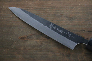Yoshimi Kato Blue Super Clad Kurouchi Petty-Utility Japanese Chef Knife 150mm with Honduras Handle - Seisuke Knife