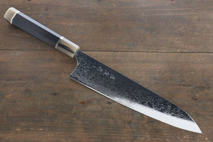 Takeshi Saji R2/SG2 Mirrored Damascus Gyuto Japanese Chef Knife 270mm with Ebony with Double Buffalo Handle - Seisuke Knife