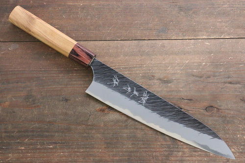 Yu Kurosaki Fujin Blue Super Hammered Gyuto Japanese Knife 210mm with Keyaki  (Japanese Elm) Handle - Seisuke Knife