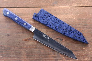 Seisuke AUS10 Hammered Kiritsuke Petty-Utility Japanese Knife 140mm Blue Pakkawood Handle with Sheath - Seisuke Knife