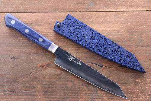 Seisuke AUS10 Hammered Kiritsuke Petty-Utility Japanese Knife 140mm Blue Pakka wood Handle with Sheath - Seisuke Knife