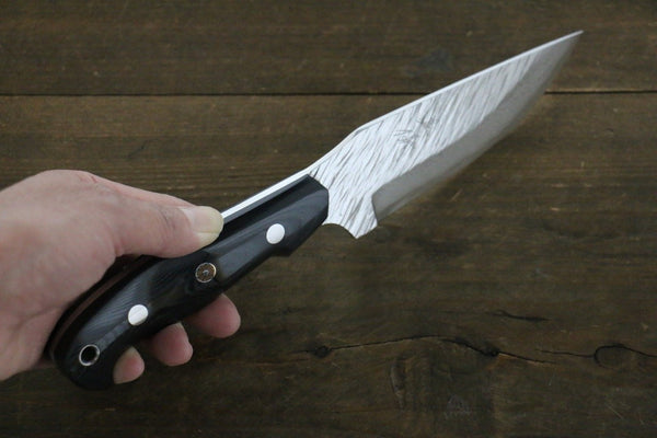 Kurosaki Fujin VG10 Damascas Hunter knife Japanese Chef Knife 120mm Black Micarta handle with Saya