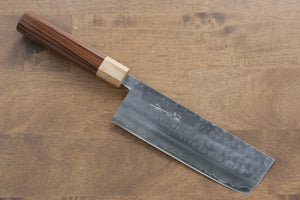 Kunihira VG1 Hammered Nakiri Japanese Knife 165mm with Morado Handle - Seisuke Knife
